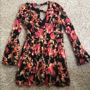 NWOT Free People Dress Sz 2 long sleeve floral